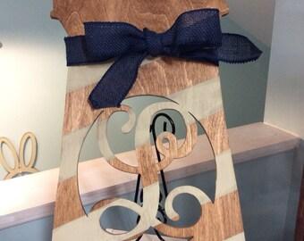 Wood lighthouse monogram, Welcome wooden decor, door hanger personalized, wood art,