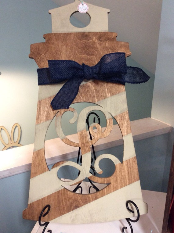 items similar to wood lighthouse monogram  welcome wooden decor  door hanger personalized  wood