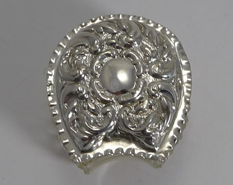 Antique English Cut Crystal and Sterling Silver Equestrian Box - Horeseshoe