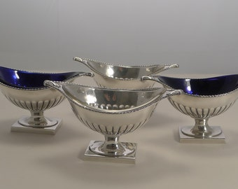 Set Four Antique English Glass Lined Serving Dishes by Barker and Ellis c.1906