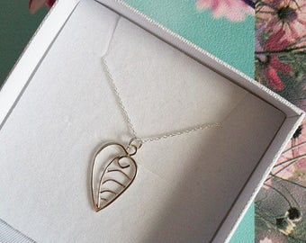 Silver Leaf Pendant - SALE - Sterling Silver - Wire Work Leaf - Leaf Necklace - Handmade Necklace - Filigree Leaf - Handmade
