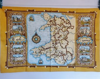 Vintage Vista Cotton tea towel Wales