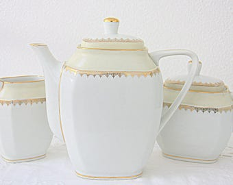 Lovely Vintage Limoges Porcelain Coffee Set, White and Pale Yellow, Gilded Details, France