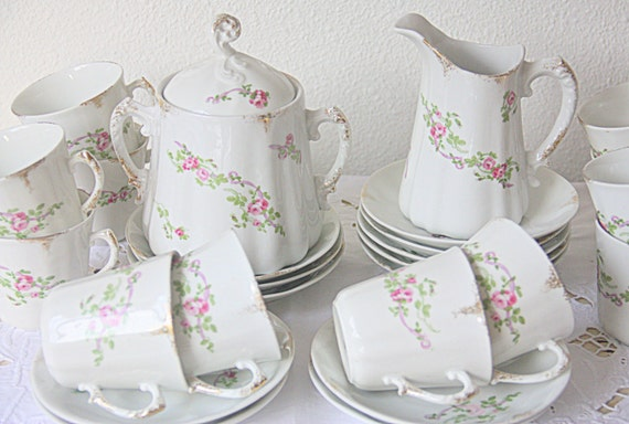 Beautiful Antique French Coffee Service, 12 Person Coffee Set, Pink Rose Guirlandes Decor, Handpainted