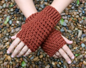 Fingerless 100% wool gloves, Brown, grey, crochet, OOAK, hand warmers, men and women, hobo gloves, no acrylic