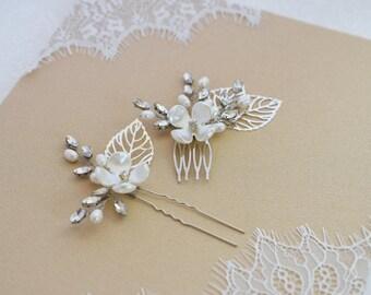 Wedding Hair Pins, Bridal Hair Pins, Wedding Hair Comb, Wedding Hair Vine, Bridal Hair Piece, Silver Hair Pins,Gold Hair Comb,Pearl haircomb