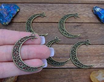 5pc Antique Bronze Half Moon Crest Pendants, Bohemian style pendants, Wire wrapping Crystal Pendants, Mystic Pendants, Jewelry, #PEN-009