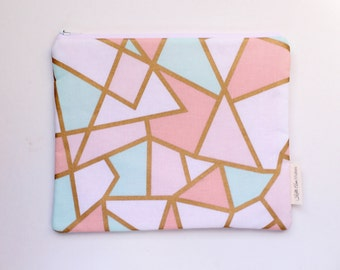 zippered pouch, clutch, wallet, geometric pouch, purse organizer, bridesmaids gift, id pouch, colorful pouch