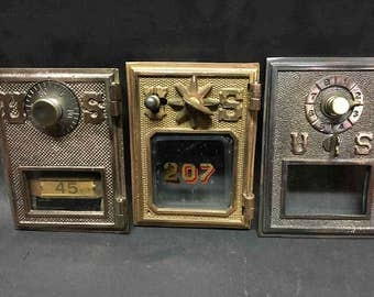 3 Different Vintage US Post Office doors brass and bronze combination
