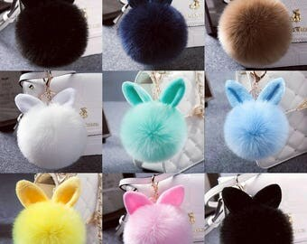 Bunny Ear Fur-Ball Keychains