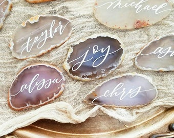 Grey and white agate slices place cards / escort cards - organic, natural, light