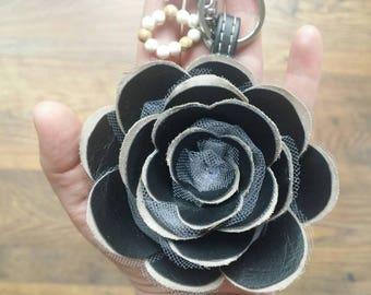 Vegan faux leather net fabric rose keyring keychain bag pendant customized