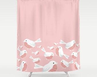 Bird Shower Curtain Etsy - Pale pink shower curtain