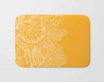 Marigold Yellow Orange Bath Mat Paisley Whimsical Pattern Colors  Bath Rug Bathroom Decor