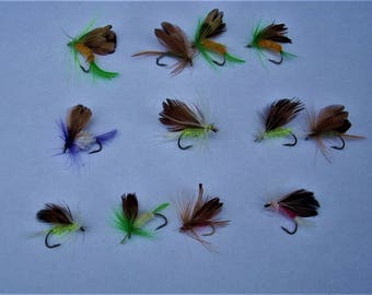 Hand Tied Flies12 pc Fly Fising Kit Fishing Lures Brite Trout panfish bass flies free shipping