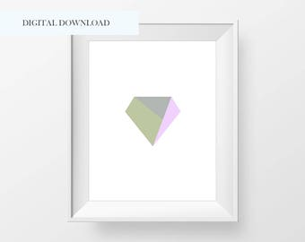 Abstract Diamond Geo Printable - Modern Diamond Abstract Print - Modern Abstract Diamond Print - Abstract Prints - Minimalist Art Prints