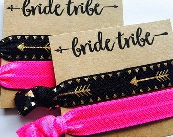 Bride tribe - bridal party hair tie favors, bridesmaid , bachelorette party, bridal shower, gift, bride tribe, to have and to hold