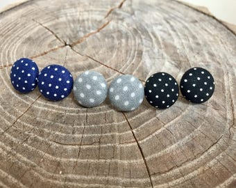 Navy, Grey, & Black with White Polka Dot Fabric Button Earrings
