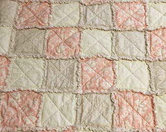 Handmade Rag Quilt in Vintage Colors for Baby or Lap Robe