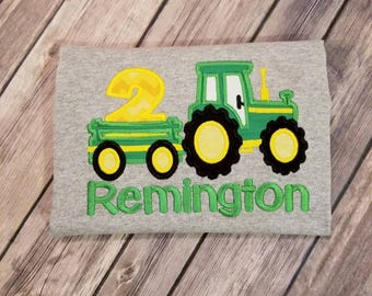 Farm Tractor birthday shirt. Choose your colors!