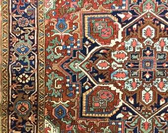 Gorgeous Antique Persian Heriz Rug 8x10 Best Natural Dyes C.1890