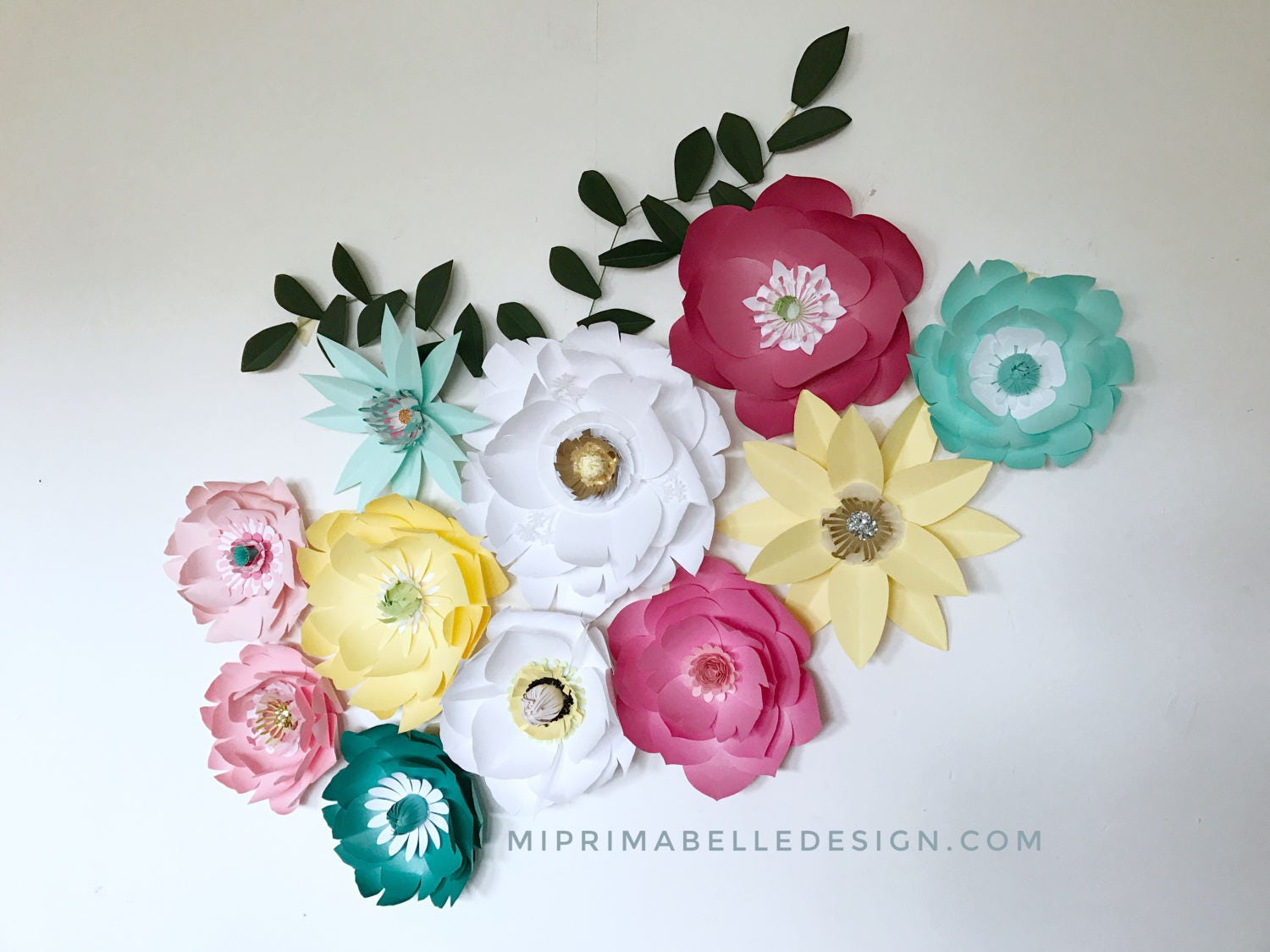 Paper flowers wall decor Baby girls nursery room wall accent