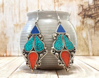 Nepali lapis coral and turquoise earrings,Ethnic earrings,Tibetan silver earrings,Tribal earrings,Gift for her,Free shipping