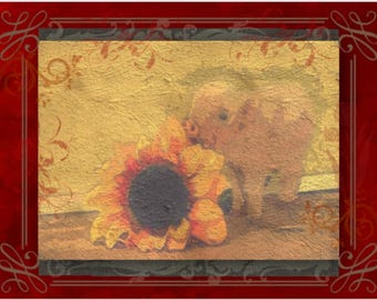 """Note Card: based on my original acrylic painting """"Piggy with a Sunflower"""" Paper and Party supplies, Stationary, Greeting cards, Collectibles"""