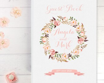 Beautiful Folk Wreath Wedding Guest Book Padded Hardcover  Bride And Groom's Name Personalised