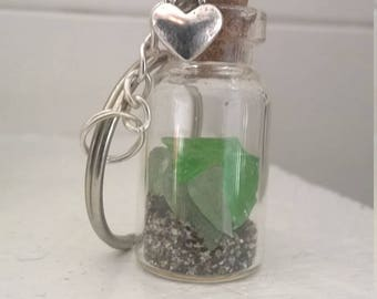 Cornish beach glass key ring. Real beach glass from St Ives Cornwall