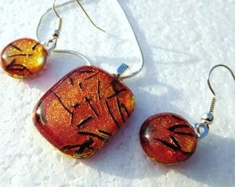 Mandarin - Beautiful handmade dichroic glass pendant and earring set