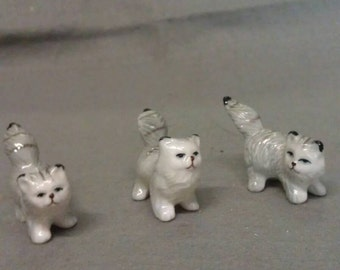 Beige and Grey Cats with Maroon Mouths Cat Figurinez