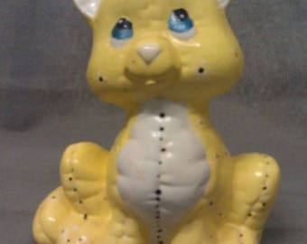 Yellow Cat with Blue Eyes Beige Ears Nose and Chest Colorful Cat Figurine