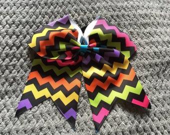 Multi Coloured Cheer Hair Bow