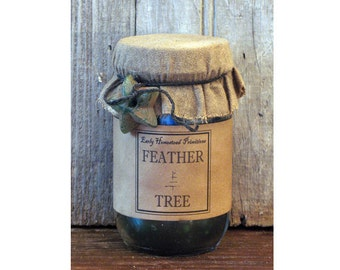 Primitive Candle, Christmas Candle, Country Rustic Feather Tree Scented Jar Candle