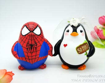Superhero Wedding Cake Toppers-Spiderman Wedding Cake Toppers-Penguin Love Bird Wedding Cake Toppers