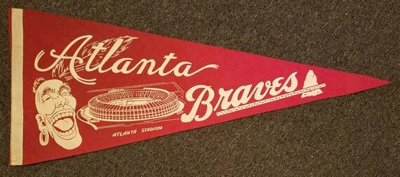 FREE SHIPPING-1960's-Vintage-Atlanta-Braves-Baseball-Mlb-11.5x29-Pennant-Banner-Milwaukee-Original