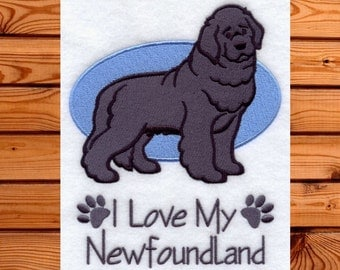 I Love My Newfoundland- I Love My Dog- Newfoundland Gift- Dog Gift- Custom Dog Towel- Custom Dog Gift- Gift for the Dog Lover