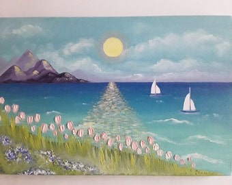 """Seascape Sailboat Oil Painting on Canvas Painting Modern art  Free Shipping- Size: 7,9"""" x 11,8"""" x 0,8"""" (20cm x 30 cm x 2cm)"""