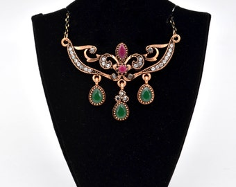 Antique Gold Ornate Fleur De Lis Vintage Style Green and Red Crystal Fashion Necklace
