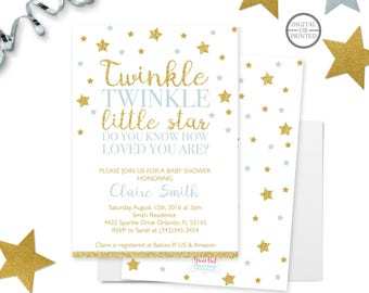 Twinkle Twinkle Little Star Baby Shower Invitation Twinkle