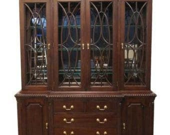 High End Solid Mahogany 67″ Lighted Breakfront China Cabinet