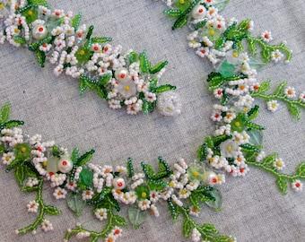 Ukrainian jewelry. Daisies with twigs. Ukrainian necklace. Flower necklace.