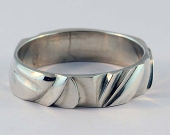 """Sterling Silver Ring, Hand """"Carved"""" Ring - 12 //4"""