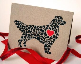 Golden Retriever Christmas Card, Dog Holiday Card, Holiday Icons Card, Single Card, Set of 4 or 8
