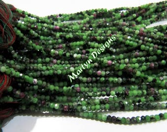 Finest Quality Genuine Ruby Zoisite Rondelle Faceted Beads / 2-2.5mm Size Natural Rubychrosite Beads / Length 13 inches / Gemstone Beads.
