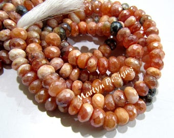 AAA Qualiity AB Coated Carnelian Beads , Mystic Coated Fire Opal Beads , 7-8mm Size Rondelle Faceted Beads, Length 13 inch, Natural Gemstone