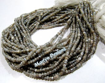 SALE- Exclusive Mystic Coated Gray Moonstone Beads ,  3-4mm Size Rondelle Faceted Gray Moonstone , Length 13 inch long , BULK LOT available