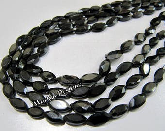 Genuine Black Spinel Marquise Shape Beads , Faceted Black Spine Beads , 4x8mm to 6x10mm Size Fancy Shape Beads, Sold per Strand 13 inch long