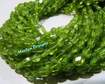 "AAA Quality Genuine Peridot Oval Faceted Beads , 4x6mm to 5x7mm Size Mani Shape Peridot Beads , Strand 13"" long , Semi Precious Stone Beads"